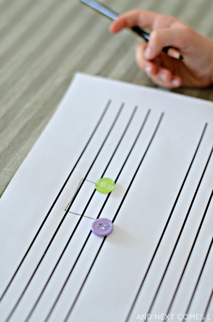 Music theory for kids: make button music note art from And Next Comes L