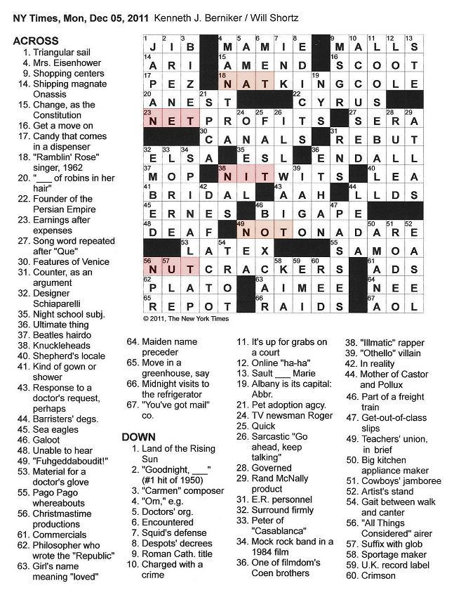 The New York Times Crossword in Gothic: 12.05.11 — NAT