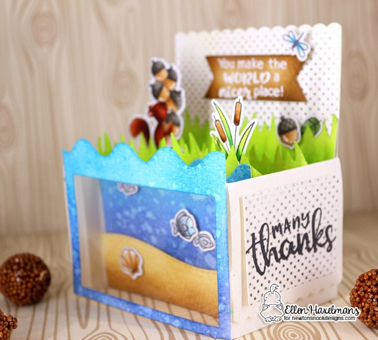 Interactive box card by Ellen Haxelmans | Harvest Tails Stamp Set, Thankful Thoughts Stamp Set, Border Dies and more by Newton's Nook Designs