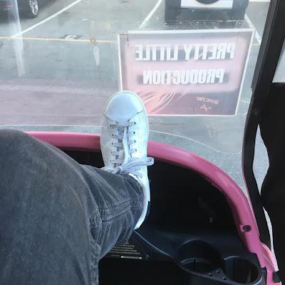 "PLL bts 7x17 Nicholas Gonzalez (Detective Marco Furey) in pink golf cart ""Driving Miss Crazy"""