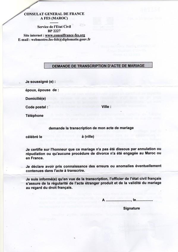 mariage franco marocain documents pour l 39 obtention du ccm au consulat de france au maroc. Black Bedroom Furniture Sets. Home Design Ideas