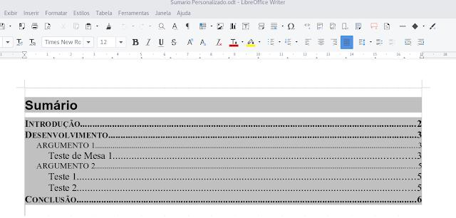 Personalização de sumários no Libreoffice Writer