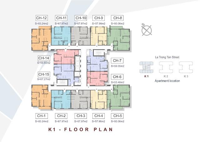 Mặt bằng tầng căn hộ điển hình tòa K1