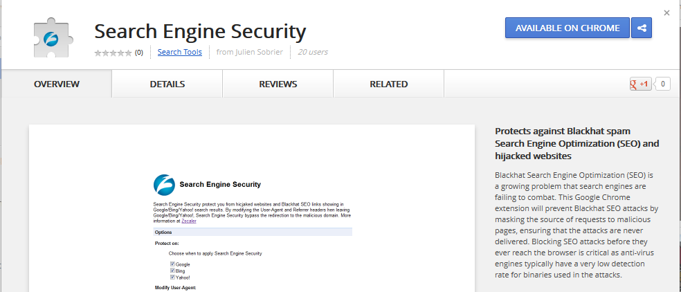 Search Engine Security for Google Chrome
