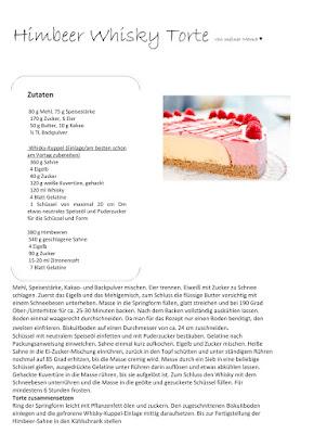 Himbeer Whisky Torte, Rezept