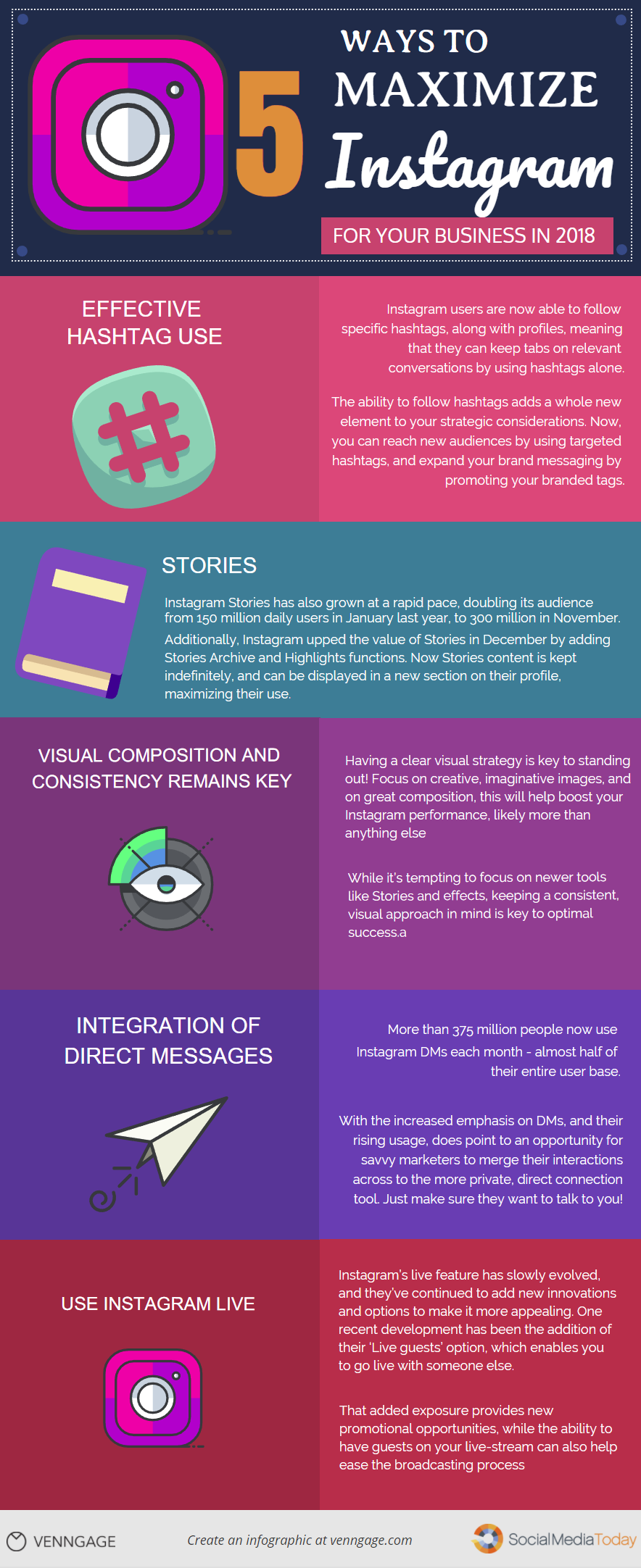 5 Ways to Maximize Instagram for Your Business in 2018 #Infographic
