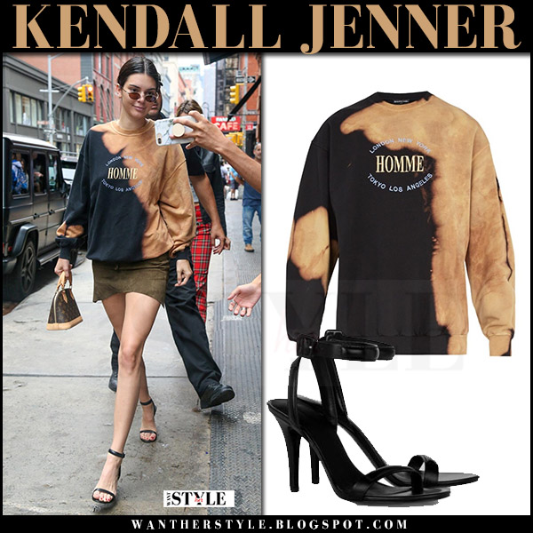 Kendall Jenner in bleached black sweatshirt balenciaga homme what she wore july 27 streetstyle