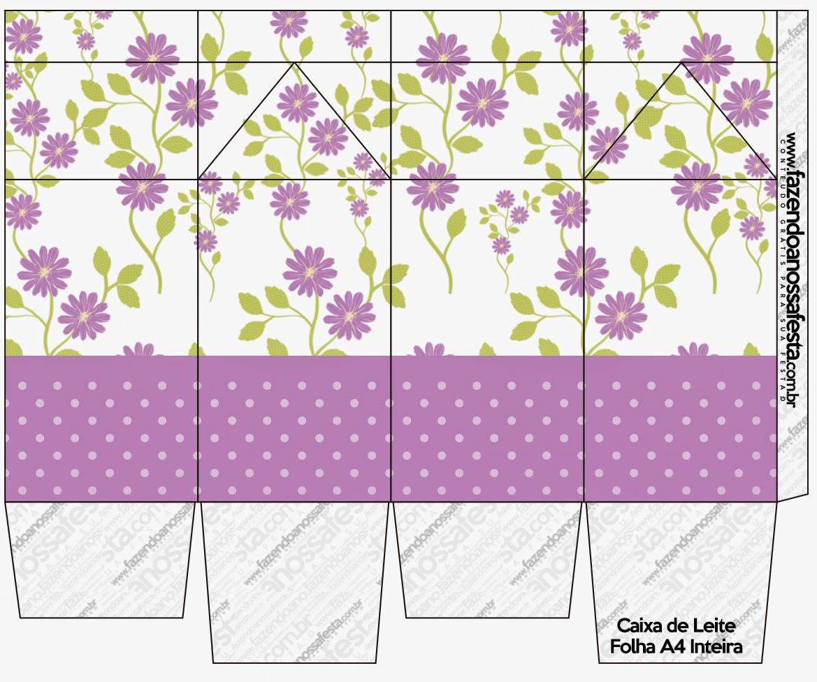 """Caja tipo """"de leche"""" de Flores Moradas."""