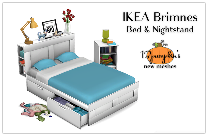 My Sims 4 Blog IKEA Brimnes Bed and Nightstand by 13Pumpkin