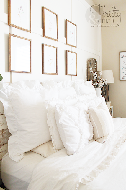 Favorite white ruffle euro shams. Best farmhouse pillows. Cottage pillows. Farmhouse bedroom decorating ideas. Neutral bedroom decor. White bedroom decor. Cottage bedroom decor
