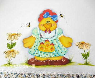 pano de copa com pintura de galinha e pintinhos, pintura folk
