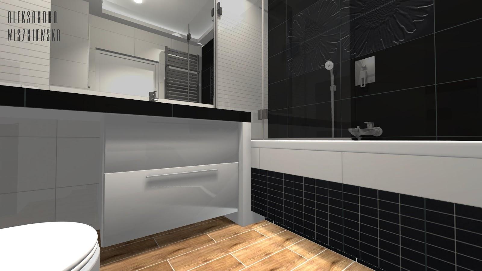 Projekty łazienek, wizualizacje: Tubądzin, Colour + Campani Legni Tinta - BIAŁO-CZARNA z drewnem