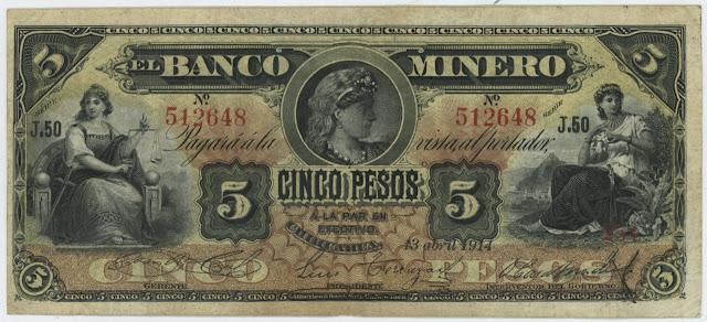 Mexican paper money bills 5 peso banknote Banco Minero