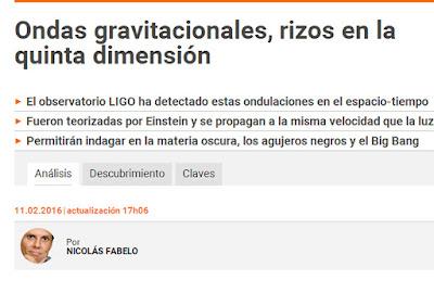 Ondas gravitacionales, rizos en la quinta dimensión