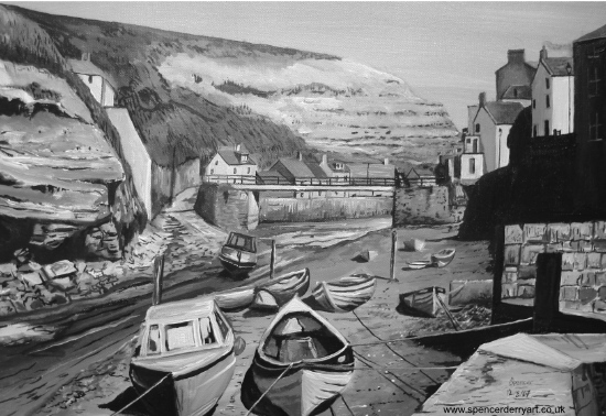 Staithes - North East Yorkshire - Fine Art Canvas Painting UK Artist by Spencer J. Derry