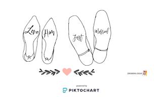 Romantyczne naklejki na podeszły butów ślubnych dla dwojga.