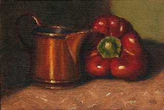 Oil painting of a small copper jug beside a red pepper.