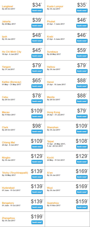 Giá vé khuyến mãi Tiger Flash mới nhất của Tiger Air đi Singapore
