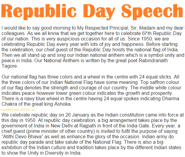 Republic Day Speech Essay for 6th Class Students, Kids, Childs