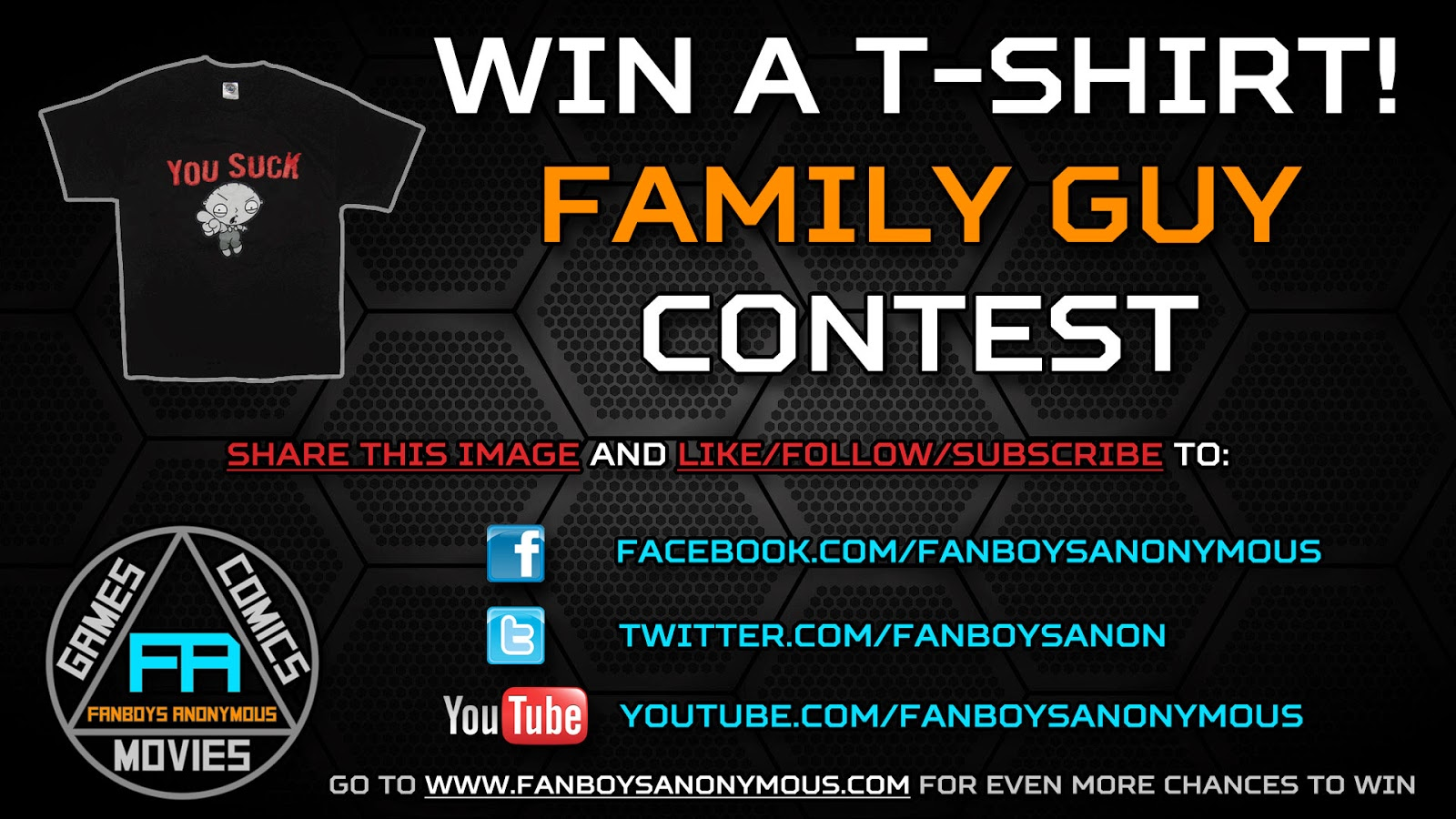 win a free Family Guy t-shirt by subscribing to Fanboys Anonymous