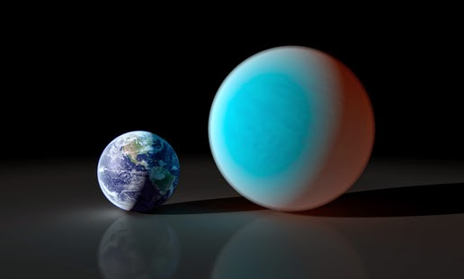 Comparison of the size of Earth and Exoplanet 55 Cancri e