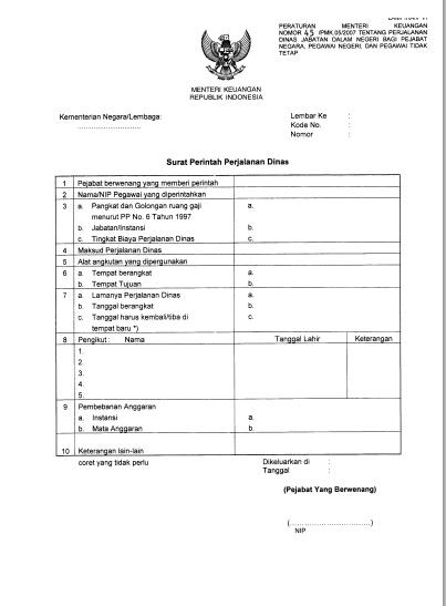 contoh format surat perjalanan dinas terbaru berdasarkan