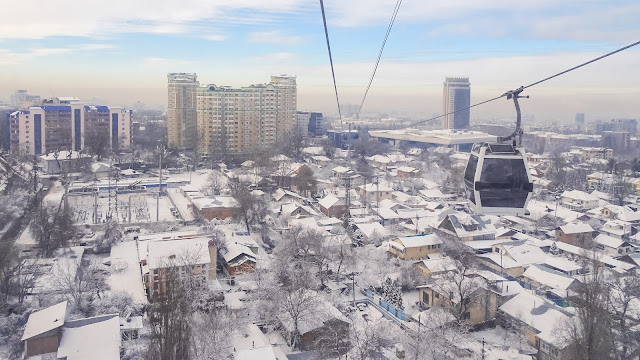 Riding the Almaty Cable car is like like flying with the helicopter to Kok-Tobe