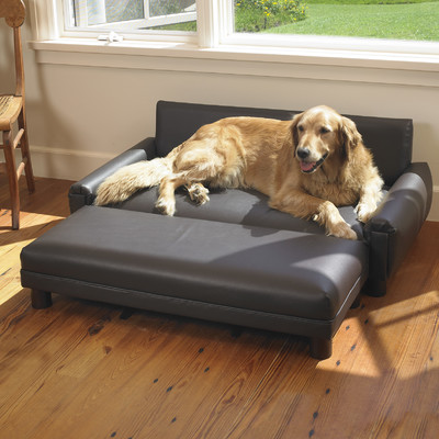 A Faux Leather Dog Bed Is Easy To Clean