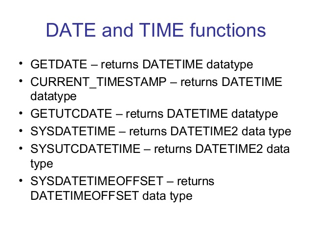 Date functions in sql