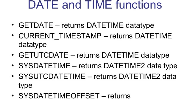 Difference between GETDATE vs SYSDATETIME vs