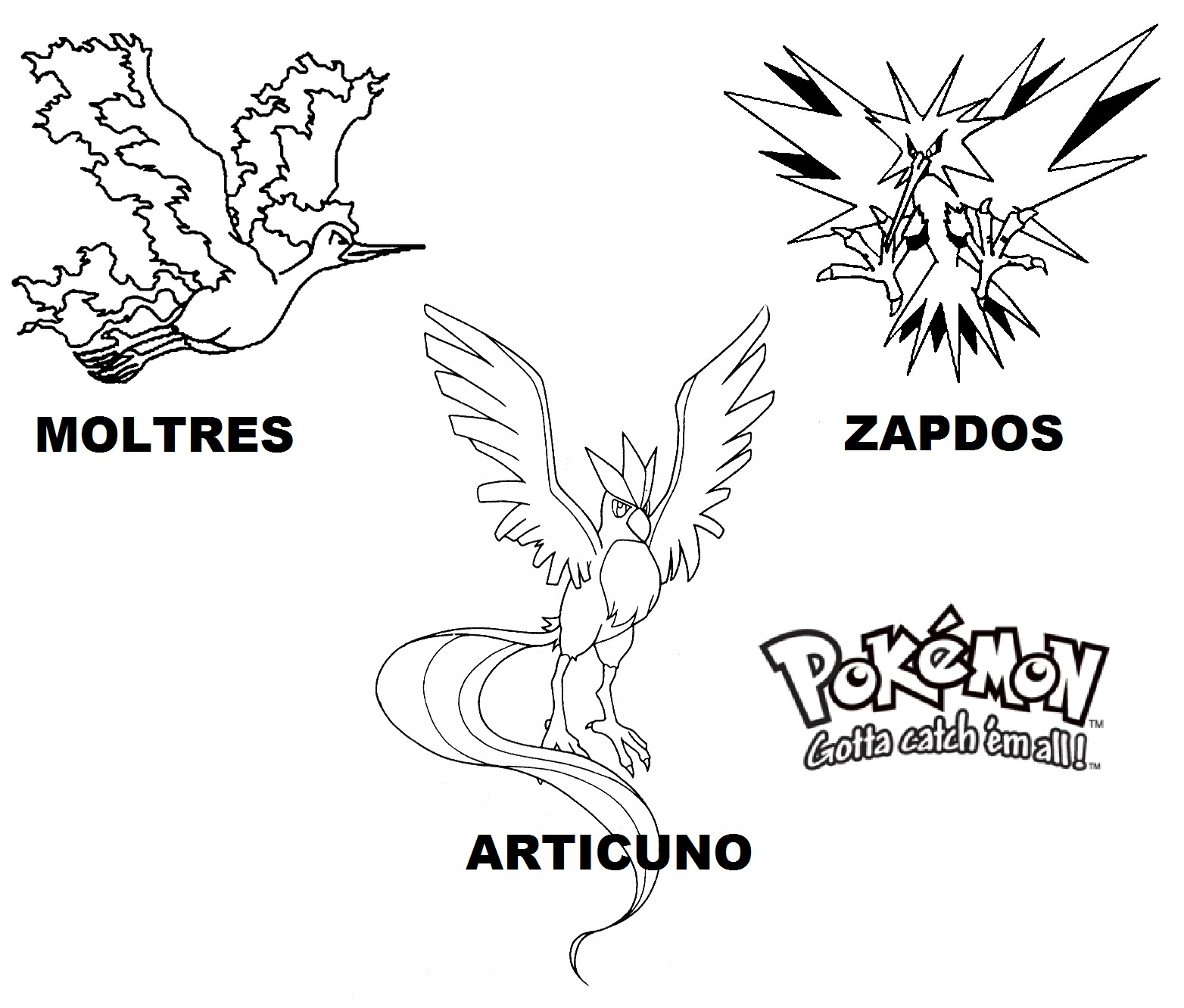 ZapdosMoltress And Articuno Legendary Pokemon Coloring Pages