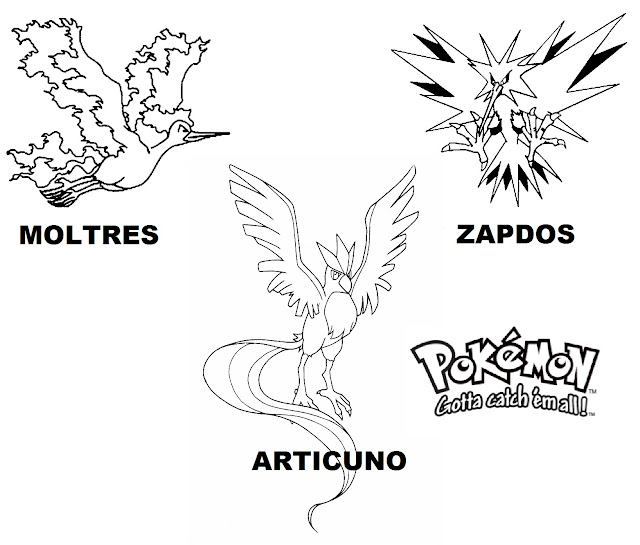Zapdos,Moltress and Articuno Legendary Pokemon Coloring Pages