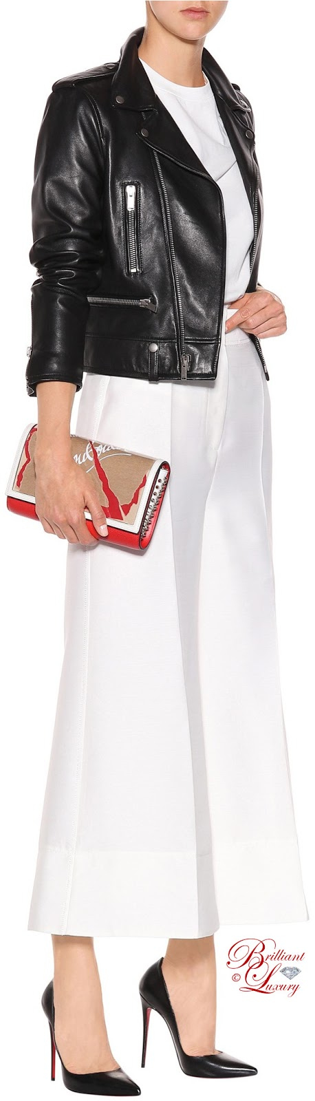 Brilliant Luxury ♦ Christian Louboutin So Kate leather pumps in black and Paloma Loubikraft leather clutch 2018