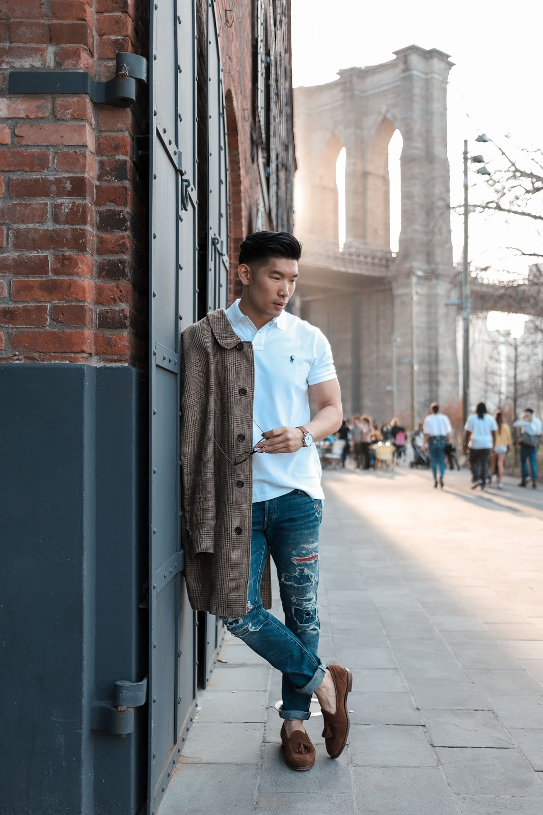 Wearing a Glen Plaid Topcoat, Polo Ralph Lauren Ripped Jeans, and Polo | Levitate Style
