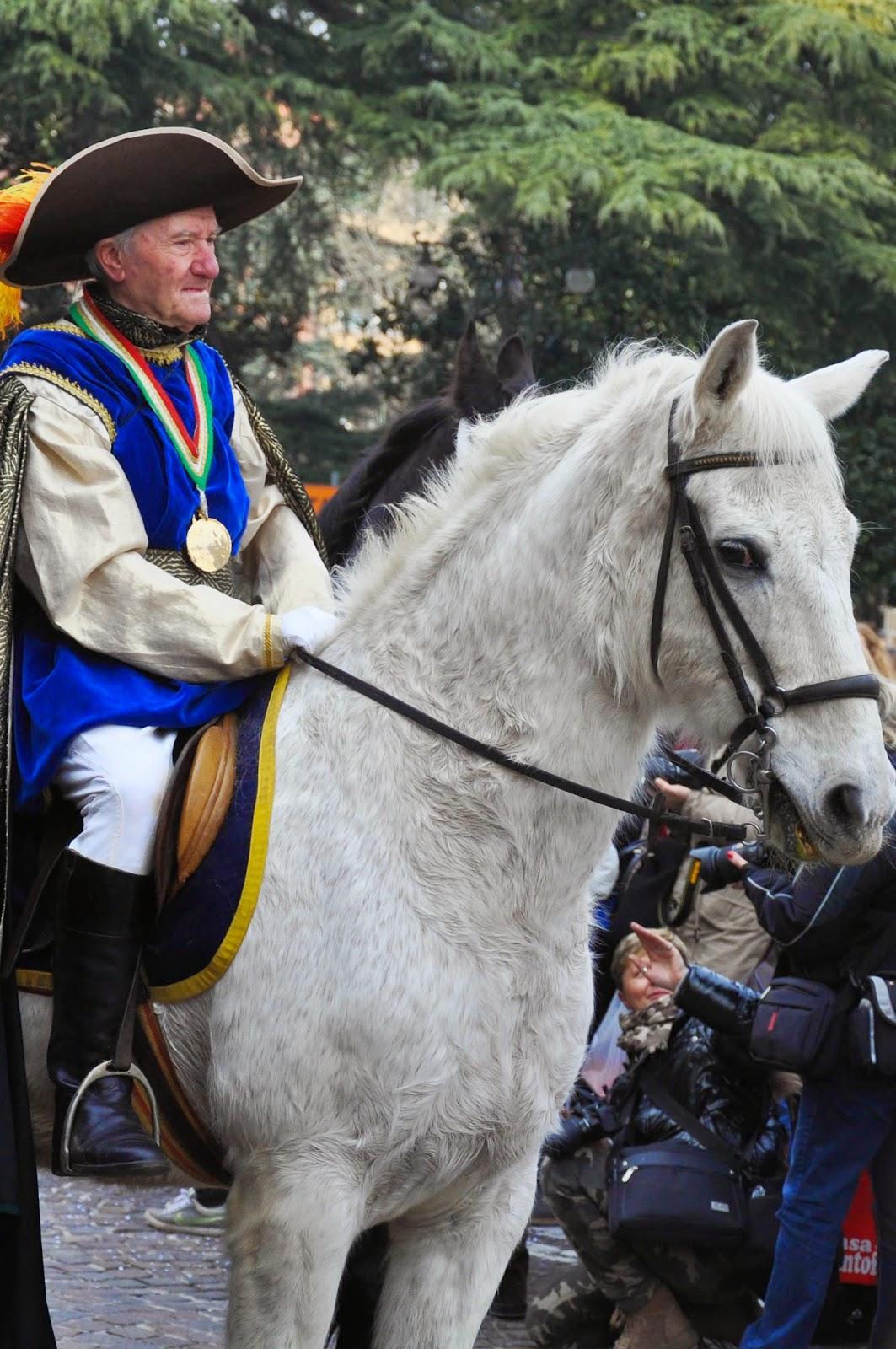 A man in costume at Verona Carnival