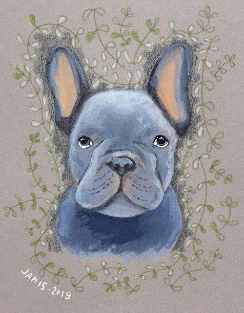 French Bulldog gouache sketch illustration