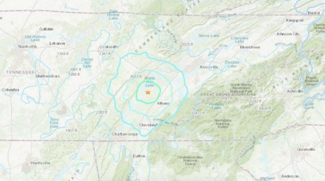 What Time was the Magnitude 4.4 Earthquake at Tennessee, Georgia Last Night