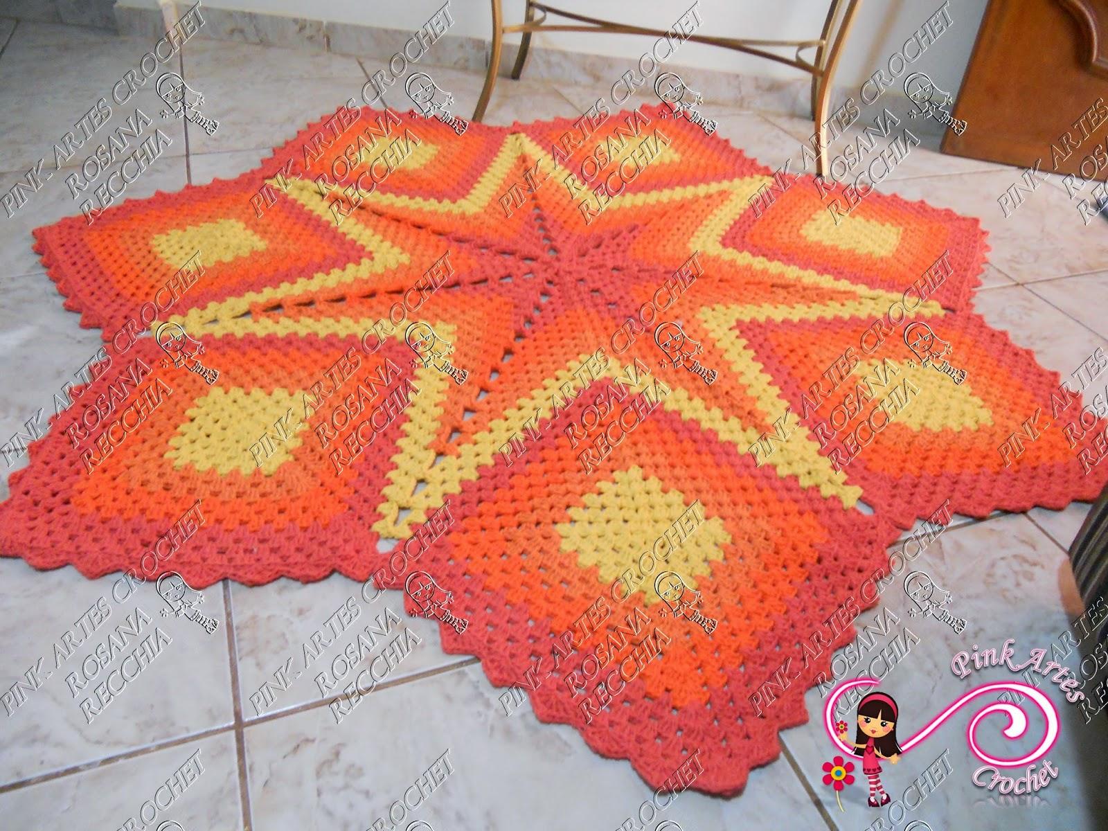 Pink Artes Croche Tapete Centro De Sala Estrela -> Tapete Pra Sala De Croche