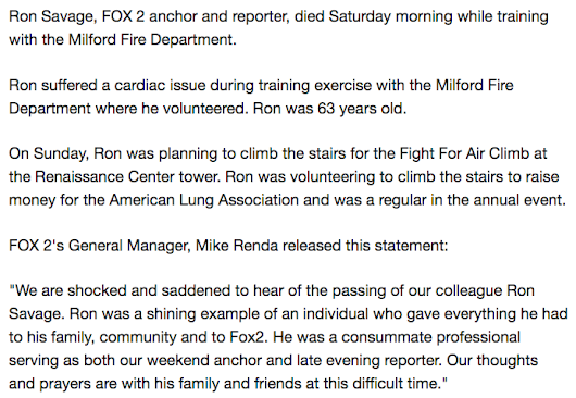 44 | Another Fox News personality drops dead, Ron Savage, of Fox News Detroit