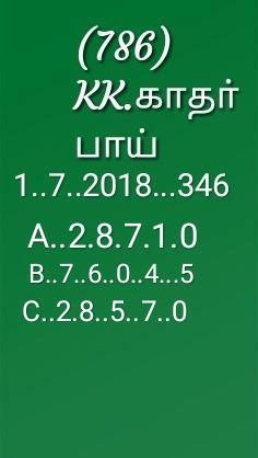 Kerala lottery prediction by KK pournami rn 346 on 1-7-2018