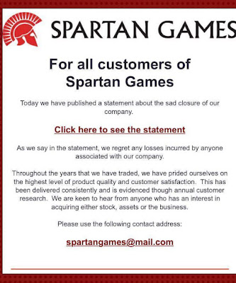 Spartan Games Announces Closure