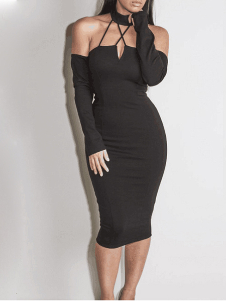 Black Caged V-neck Off Shoulder Long Sleeves Sexy Bodycon Party Dress