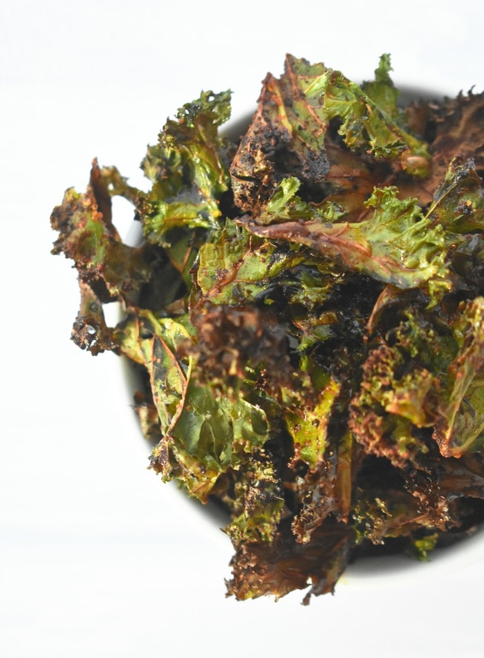 close up of Easy Paprika Kale Crisps
