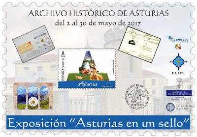 """Exposición """"Asturias en un sello"""",  FASFIL, Archivo Histórico"""