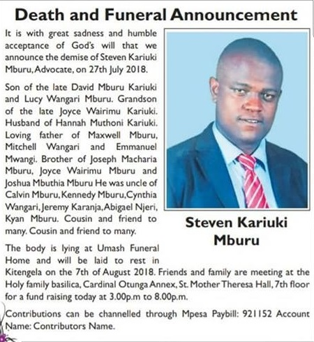 Image result for Nairobi lawyer Stephen Kariuki Mburu