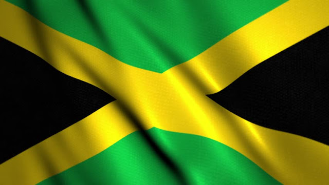 Drapeau jamaicain : croix jaune sur fond noir et jaune