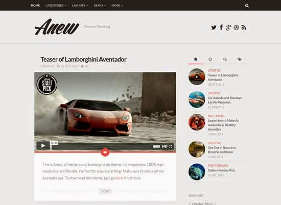 Anew WordPress theme