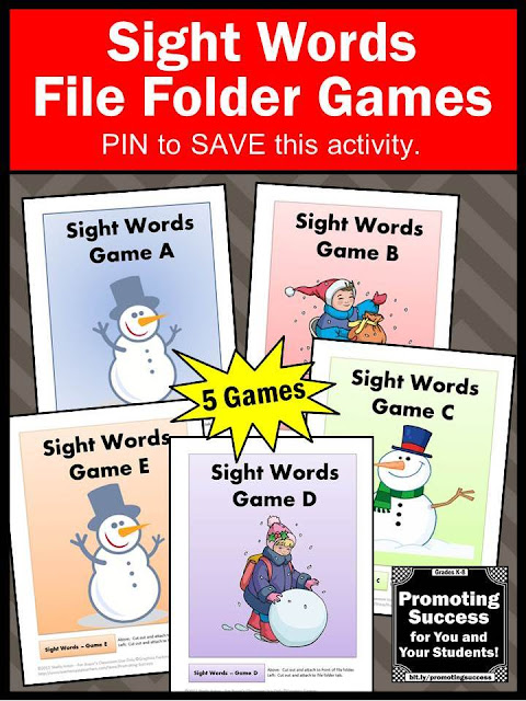 reading sight words file folder games autism ASD special education