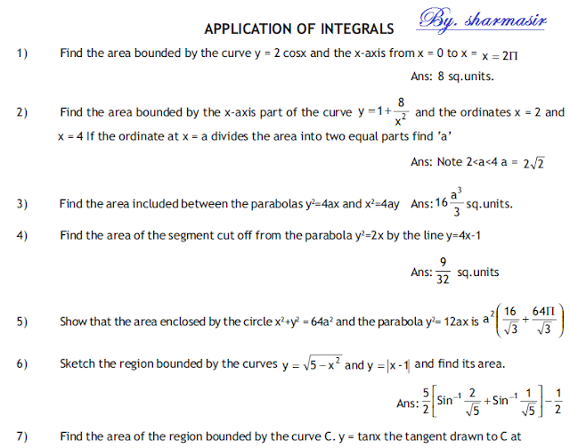 engineering  mathematics notes,Application of integrals Questions