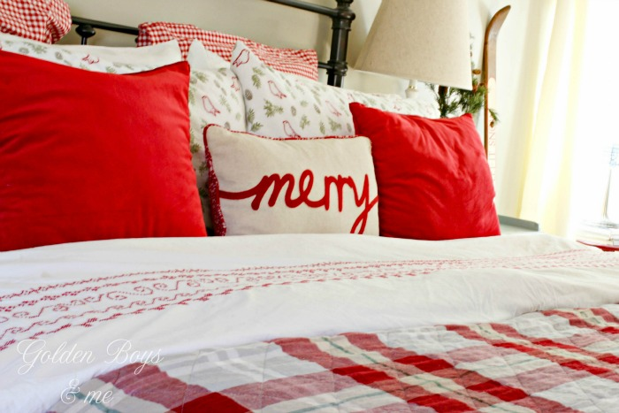 Flannel sheets with Ikea Duvet cover and Target plaid quilt - www.goldenboysandme.com